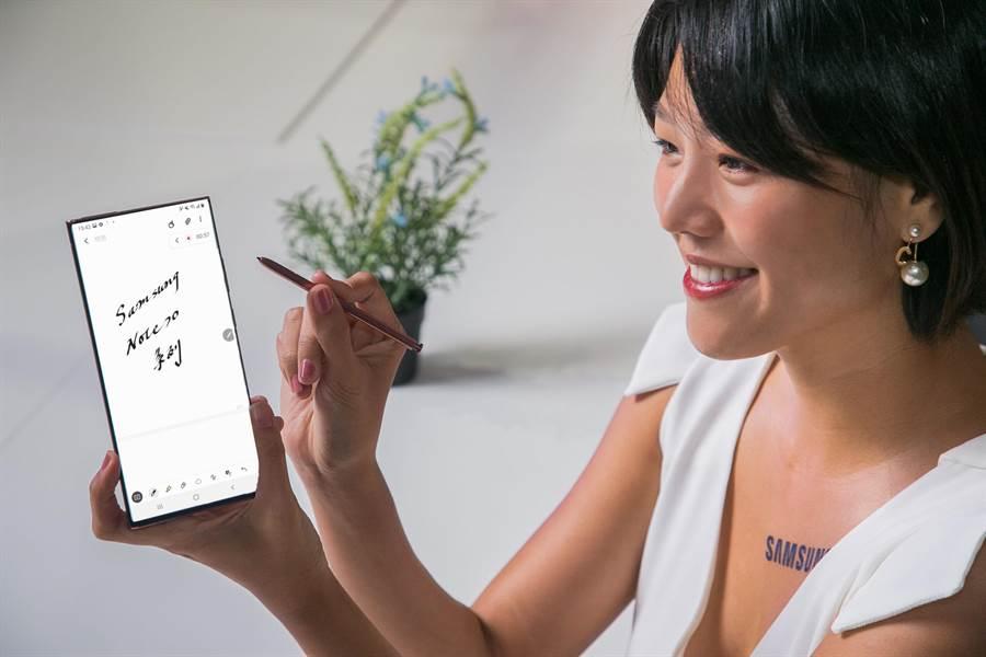 三星全新的Galaxy Note20 5G,星霧金、星霧綠、星霧灰 3色,定價3萬5900元;Galaxy Note20 Ultra 5G,星霧金、星幻黑、星幻白 3色,定價4萬3900元起。(三星提供)