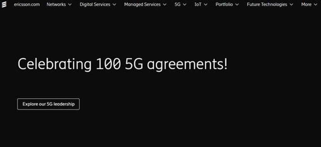 愛立信在官方網站首頁顯示「Celebrating 100 5G agreements!」,慶祝完成第100份5G合約。圖/取材自愛立信官網