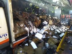 「防疫國家隊」貨車國道火燒車 2萬件「隔離衣」全毀