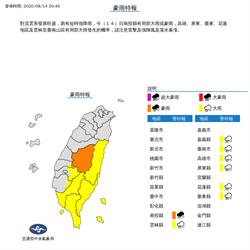 低壓接近對流旺盛 雷雨胞襲擊南台灣 南投等8縣市豪大雨特報