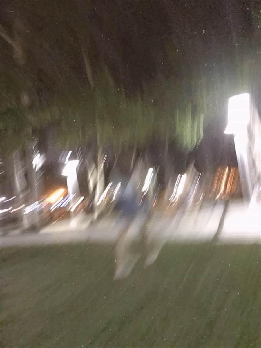 網友打趣表示,竟然能在都會公園拍出星軌照,男方真的是天才 (圖/爆怨公社)