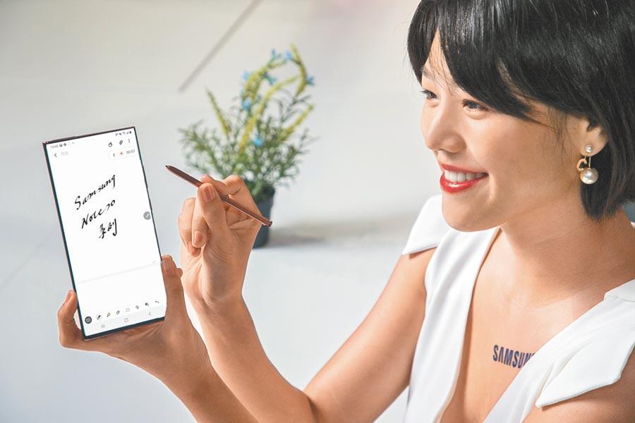 三星Galaxy Note20 5G,星霧金、星霧綠、星霧灰,定價3萬5900元;Galaxy Note20  Ultra 5G,星霧金、星幻黑、星幻白,定價4萬3900元起。(三星提供)