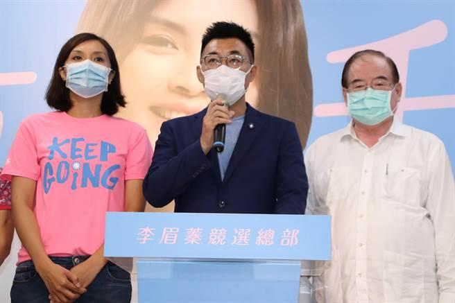 國民黨主席江啟臣15日傍晚承認敗選,並對外發表相關談話。(洪浩軒攝)