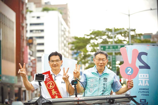 民眾黨吳益政(左)。(劉宥廷攝)