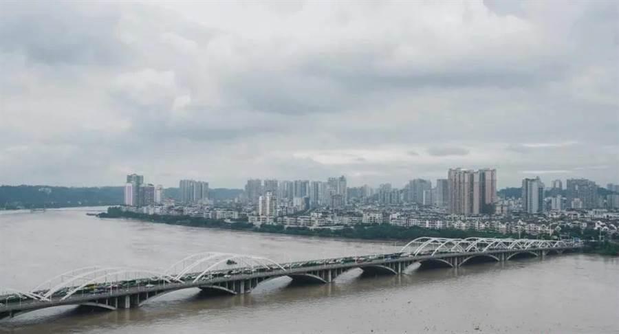 四川省樂山市位於岷江、青衣江、大渡河交匯處,洪峰來勢洶洶,河水已接近橋面,防洪壓力不小。(圖/封面新聞)