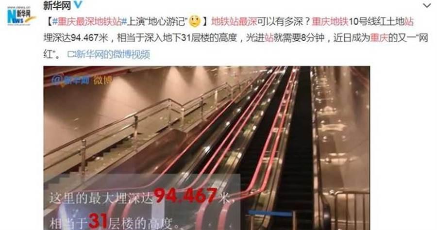 重慶軌道10號線「紅土地站」,光是進站就需費時8分鐘。(圖/翻攝自新華網微博)