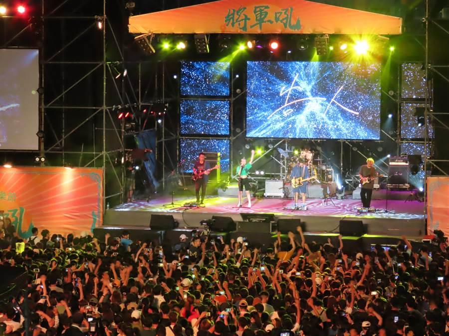 台南夏日音樂節「將軍吼」開唱,現場湧入破萬民眾。(莊曜聰攝)