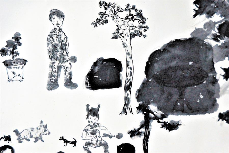 于彭《藏在石頭裡的桌子》局部,1986作。(羅青提供)