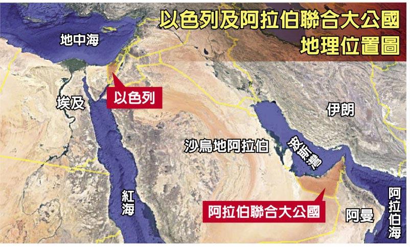 以色列及阿拉伯联合大公国地理位置图