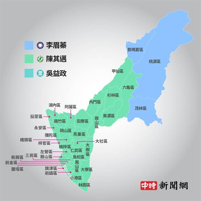 高雄市長補選各政黨候選人得票分布地圖。(中時新聞網製圖)