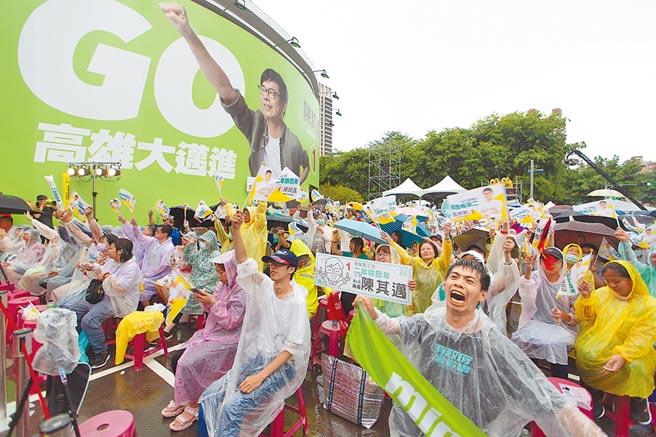 民進黨高雄市長補選候選人陳其邁開票數突破67萬票,現場支持者群情沸騰。(袁庭堯攝)