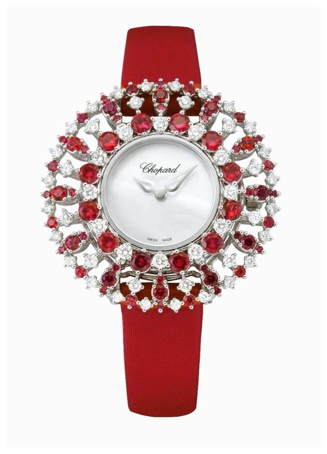 蕭邦L'Heure Du Diamant系列紅寶石鑽表,164萬元。(CHOPARD提供)