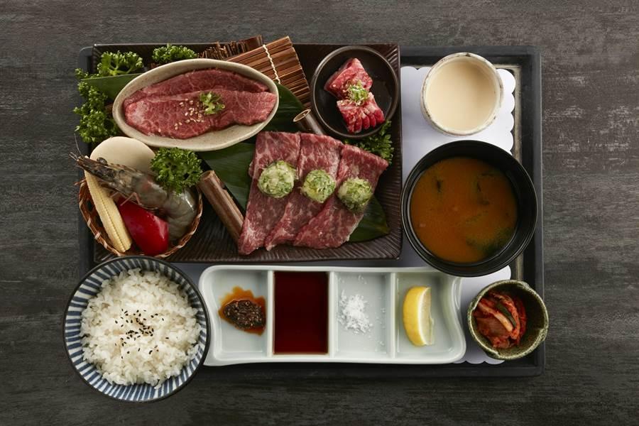 老乾杯_特選和牛三種部位套餐,集結日本特選和牛,鹽蔥燒、角切牛五花3款不同的和牛部位,搭配虎蝦、三種蔬菜。(圖/品牌提供)
