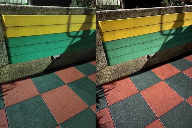 realme X3主相機(左)與iPhone 11 Pro Max夜間實拍對比(1)。(黃慧雯攝)