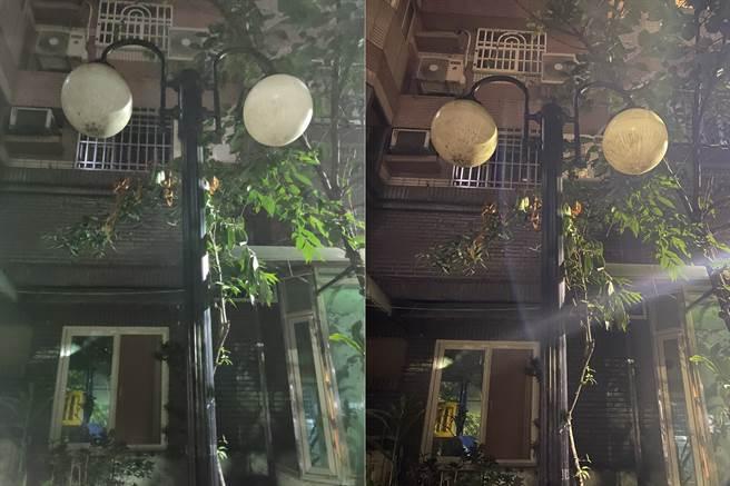 realme X3主相機(左)與iPhone 11 Pro Max夜間實拍對比(3)。(黃慧雯攝)