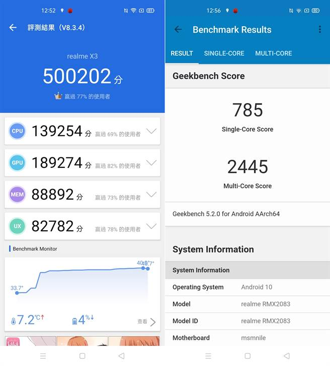realme X3的安兔兔評測(左)、Geekbench 5跑分結果。(手機截圖)