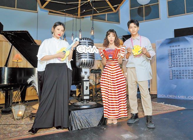 魏如萱(左起)、瑪麗及蔡旻佑昨開心出席金曲獎相關活動。(盧禕祺攝)