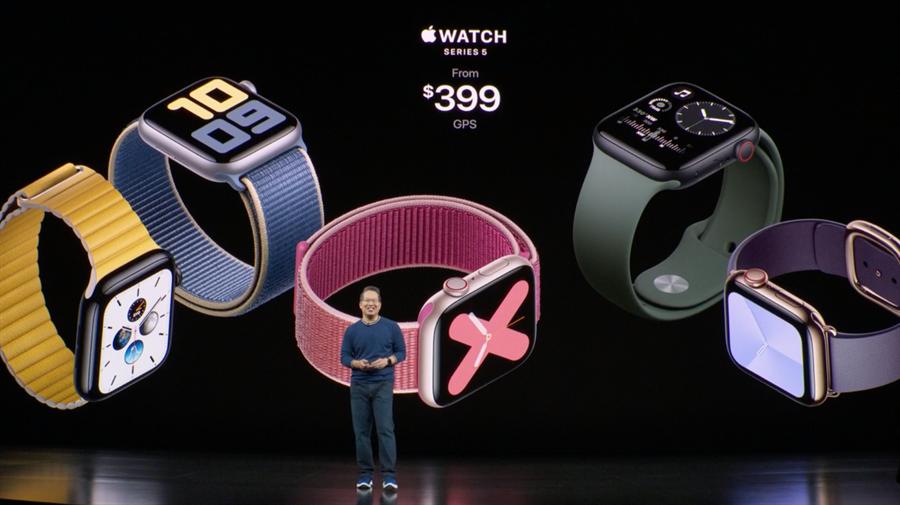 Apple Watch Series 5在2019年 9 月隨著 iPhone 11 系列正式發表。(摘自蘋果官網)