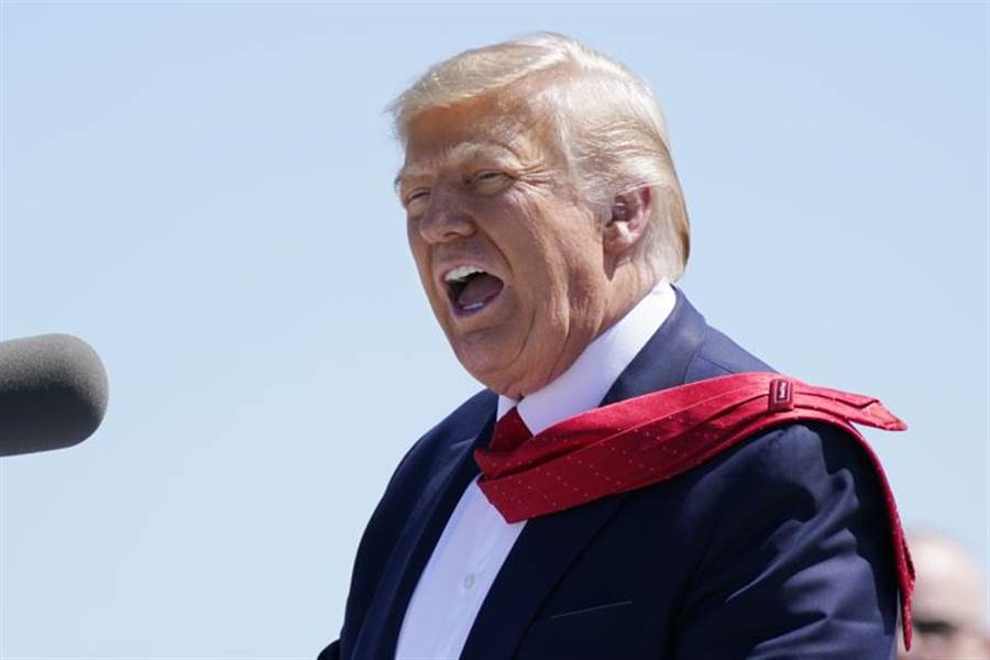 美國總統川普17日到明尼蘇達州出席競選造勢活動。(美聯社)