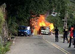梨山松茂部落工程車瓦斯桶起火 猛烈火勢危及果園