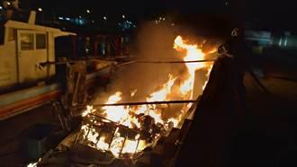 桃園永安漁港工作平台起火 周邊漁船未遭潑及
