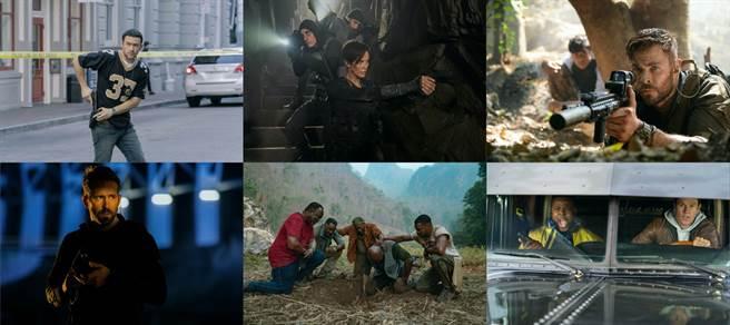 Netflex电影(左至右、上至下)《超能计画》、《不死军团》、《惊天营救》、《鬼影特攻:以暴制暴》、《誓血五人组》、《史宾赛的机密任务》剧照。(Netflix提供/黄慧雯台北传真)