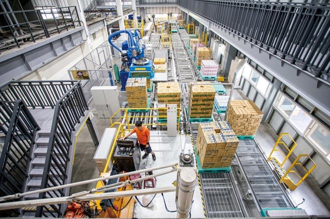 全聯岡山物流園區的機器手臂每小時可搬運2千箱商品,倉儲每日可處理達10萬箱作業量,為全聯門市打造「前店後倉」快速配送目標。圖/業者提供