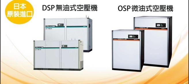 OSP日立微油式空壓機與DSP日立無油式空壓機。圖/業者提供