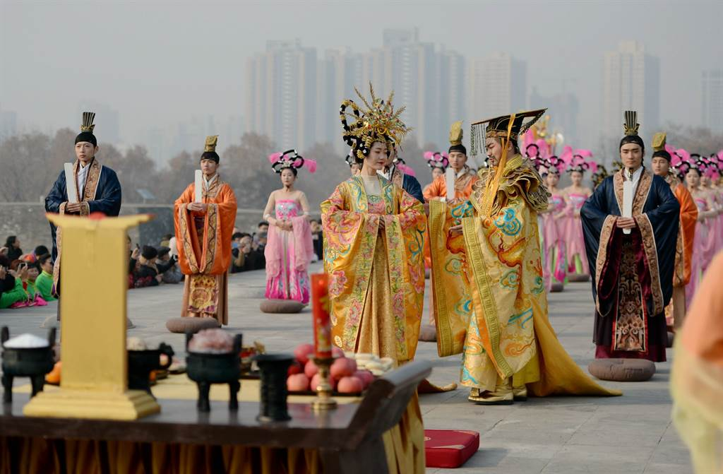 西安大明宮再現唐代「祭天禮」。(新華社資料照片)