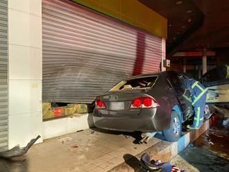 轎車失控撞超市1家4口夾車內 妻慘死2幼子輕重傷