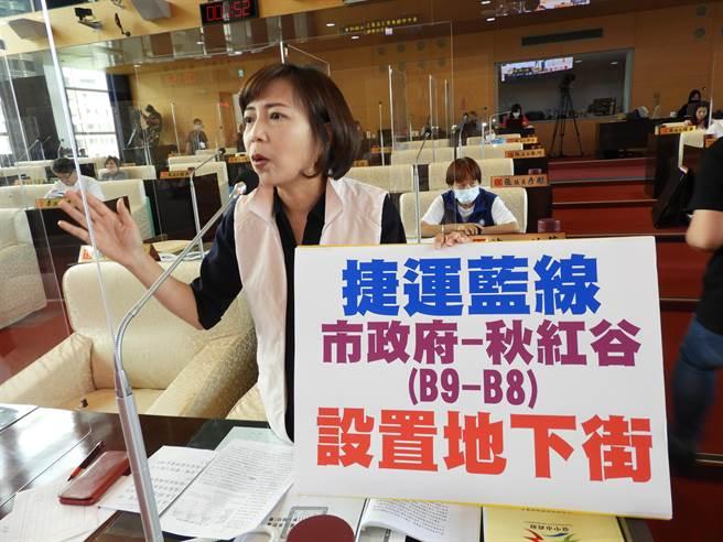 陳淑華指出,台灣大道從安和路到東海大學應要地下化,B8到B9站應設地下街。(陳世宗攝)