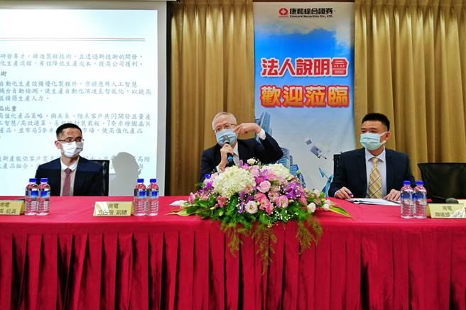 南电20日受邀举办法说,图为副总暨发言人吕连瑞(中)、公关组组长韩维道(右)、专员杨博森(左)。(记者林资杰摄)
