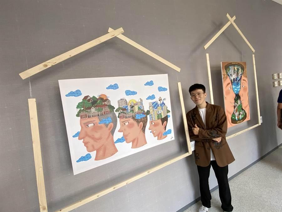 插畫家李信宏表示,自創品牌中的「AU」,取自於凹的諧音,希望從人生中找出每個可以填滿缺口的可能。(盧金足攝)