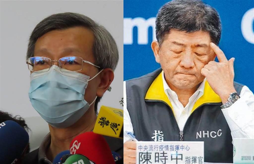 彰化縣衛生局長葉彥伯(左)、疫情中心指揮官陳時中。(合成圖/吳敏菁攝、中時資料照)
