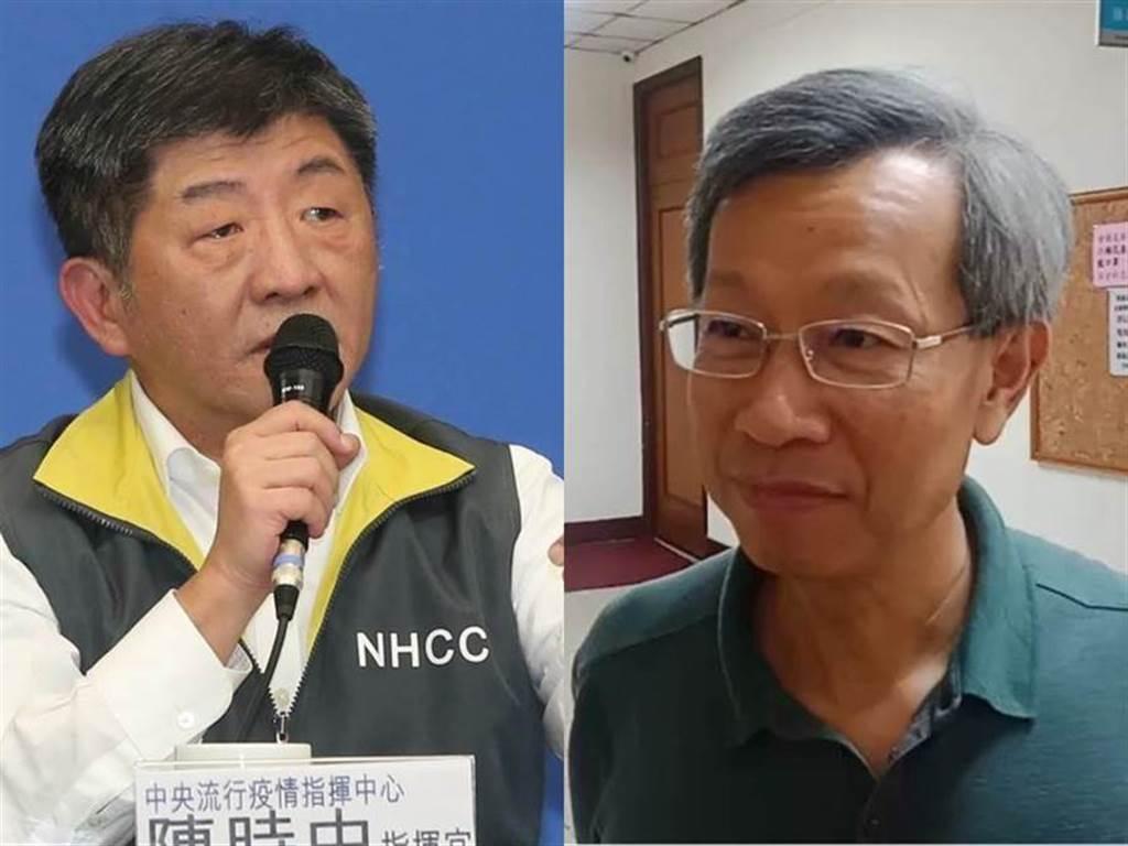 葉彥伯(右)今天在鏡頭前哽咽,對此陳時中(左)也做出回應 (圖/本報資料照)