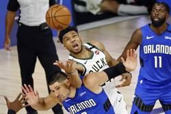 NBA》字母哥恐怖雙20 公鹿變走魔術扳平