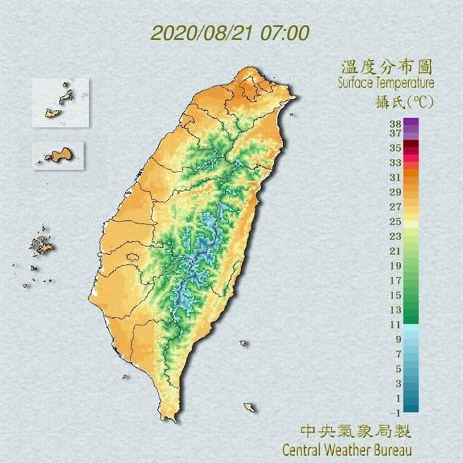 今天(21日)各地雖以多雲到晴為主,不過水氣稍增,大氣較為不穩定。(翻攝自中央氣象局/林良齊台北傳真)