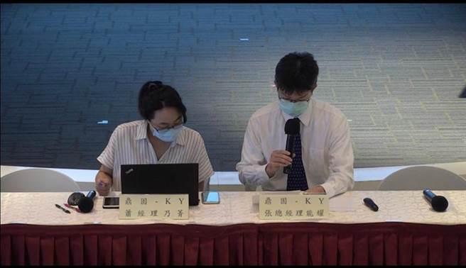 鼎固-KY總經理張能耀(右)於證交所線上鼎固法說會直播現場。圖/蔡惠芳