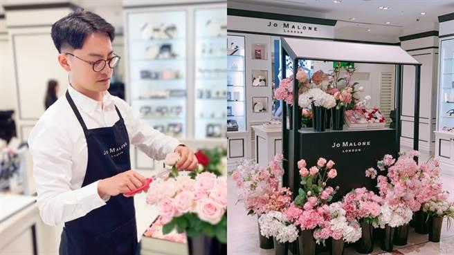 Jo Malone London因應七夕送禮需求,結合英式花店推出花朵禮盒、花束服務,於特定專櫃達指定消費門檻即有專業花藝師親手製作精緻花盒。(圖/邱映慈攝影)