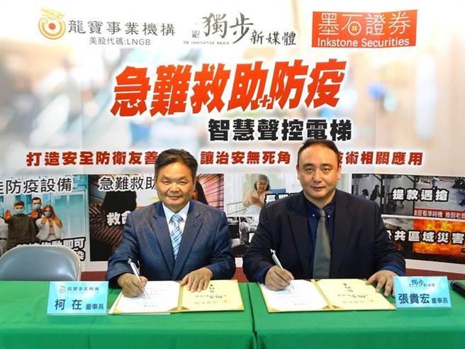 龍寶集團董事長柯在(左)今日與獨步新媒體董事長張貴宏,在台中簽約成立「龍寶獨步聲聯網」。圖/曾麗芳