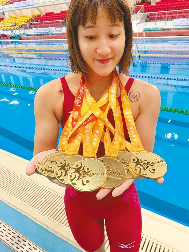 去年全國運動會橫掃7金,游泳女將徐安今年獲高雄市體育有功人員最佳女選手。(高巿府運發局提供/曹明正高雄傳真)
