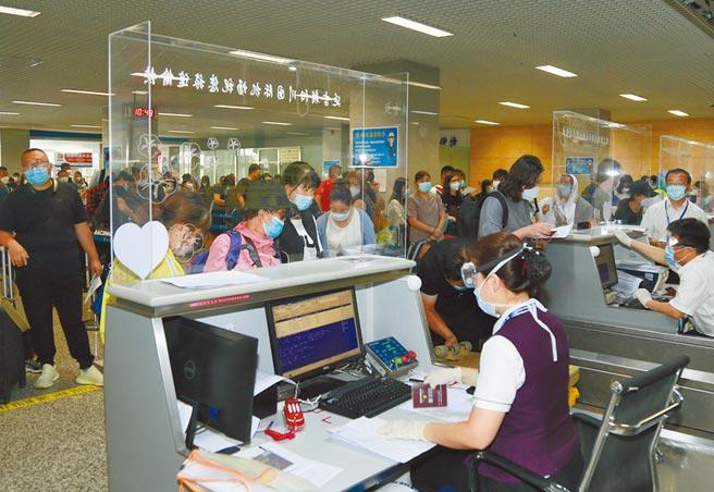 陸大致控制疫情,人民在防疫措施保障下生活恢復正常。圖為8月20日吉林延吉機場內洶湧的人潮。(中新社)