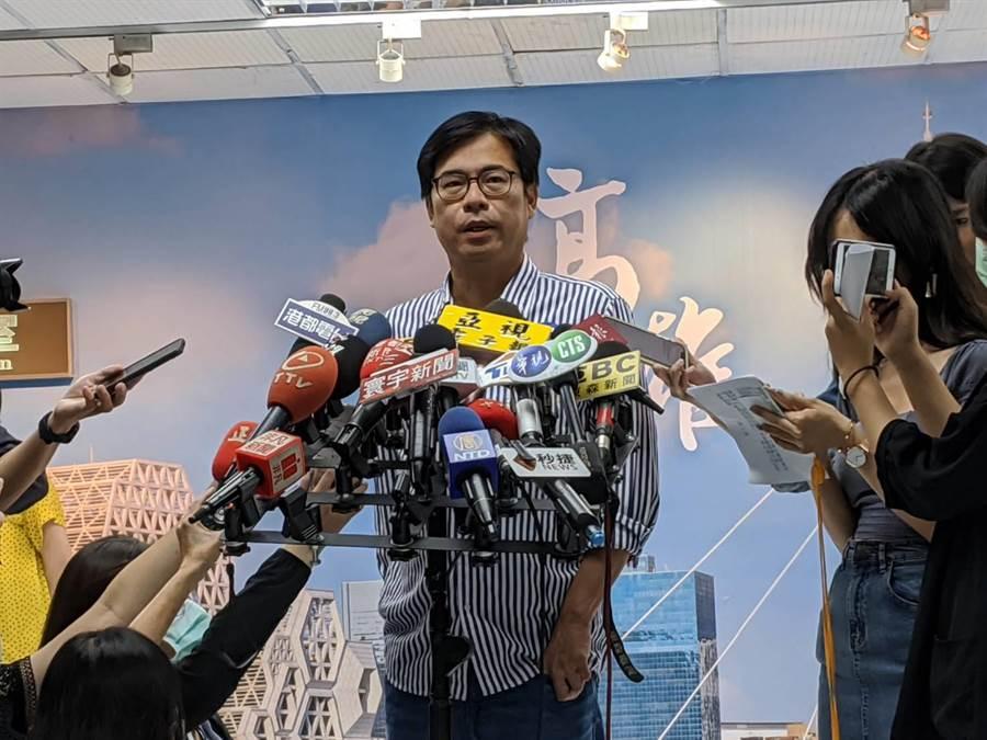 高雄巿長補選當選人陳其邁21日受訪。(曹明正攝)