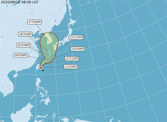中央氣象局預測巴威颱風路徑圖。(圖擷自氣象局)