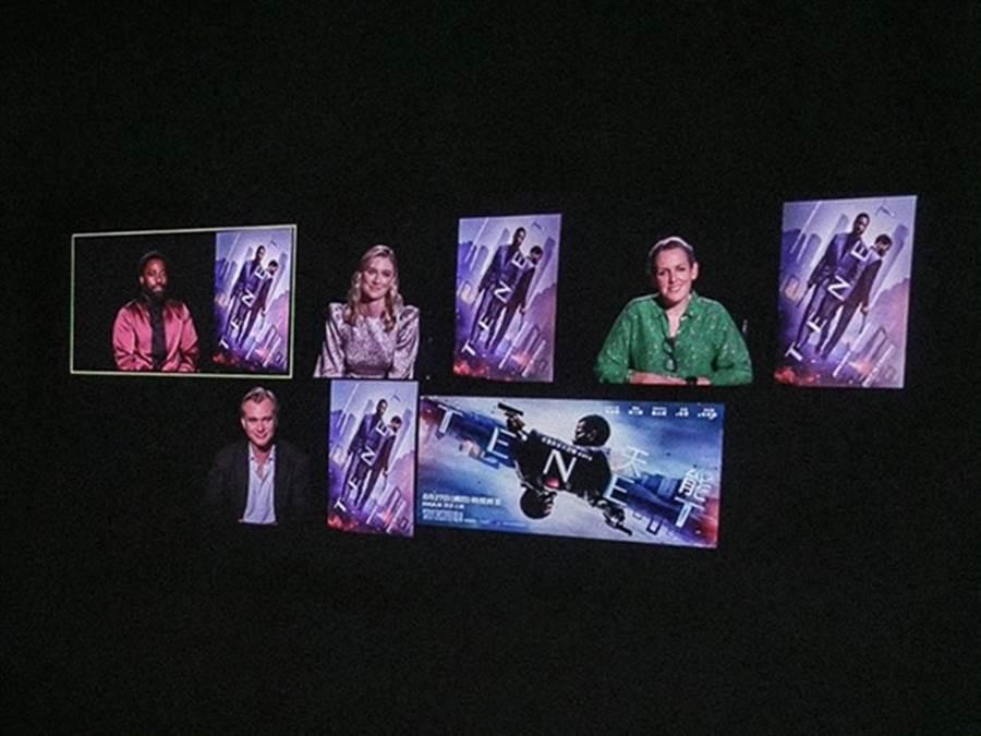 諾蘭21日與約翰大衛華盛頓、伊莉莎白戴比姬以及製片艾瑪湯瑪斯出席記者會。(華納兄弟提供)