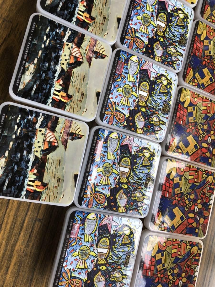 彰化縣小嶺頂愛啟兒關懷協會研發新產品果凍上的包裝出自於心智障礙孩子們的畫作
