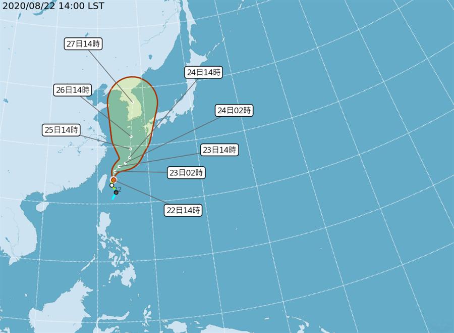 輕度颱風巴威今天下午2點來到花蓮東方約150公里的海面。(翻攝自中央氣象局/林良齊台北傳真)