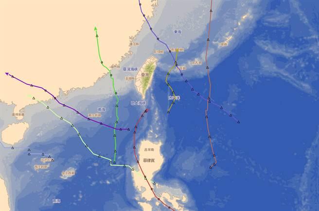 今年颱風多在台灣南方生成,貧脊環境不利發展。(中央氣象局提供)