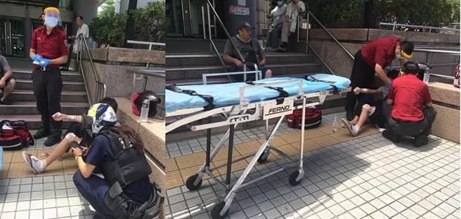 民權西路捷運站前,驚見1場意外車禍,警消人員當時都尚未趕到,卻見到1名熊貓外送員立即主動停下車上前查看傷患情況。(爆料公社二社網友提供)