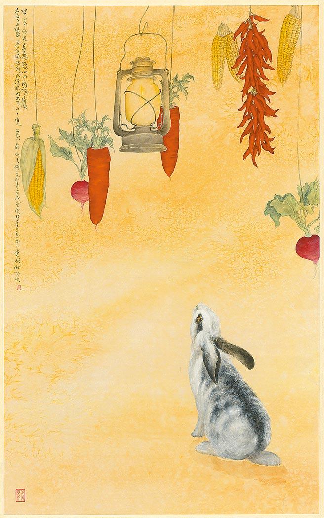 《希望与诱惑》,林淑女,纸本设色,144×66cm,2000年。图片提供/林淑女